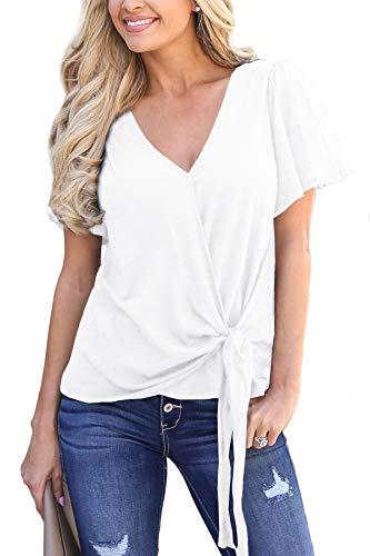 Women Plain V Neck Tie Knot Front Tops Loose Casual Drape Wrap Ruffle Short Sleeve Shirt White 2XL
