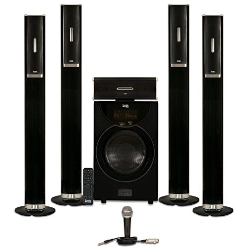 Acoustic Audio AAT2002 Tower 5.1 Bluetooth Speaker System with 8'' Powered Subwoofer and Microphone by Acoustic Audio by Goldwood