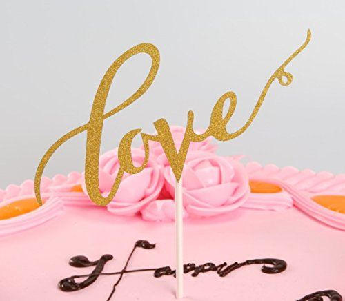 Love-Cake-Topper-Handmade-Decoration-Paper-Gold-Glitter-for-Wedding-Engagement-Birthday-Party-gold