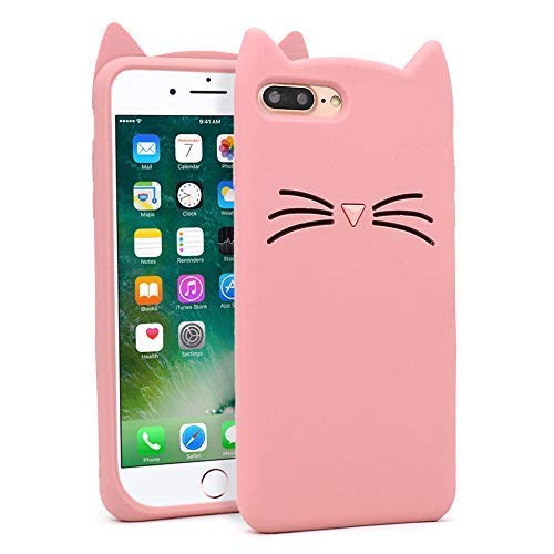 reputable site 9d00d 9ecd6 for iPhone 7 Plus Case, iPhone 8 Plus Cases, Cute 3D Cartoon Mustache Cat  Kitty Case, Soft Rubber Silicone Drop Protection Back Cover for iPhone 7 ...
