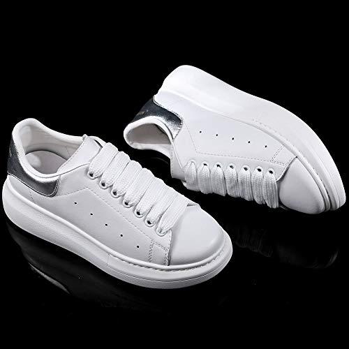 Suola Bianco Donna Sneaker Basse Comoda YORWOR Leggera argento da Ginnastica con Piattaforma Scarpe Bianco Outdoor Platform f8qwU