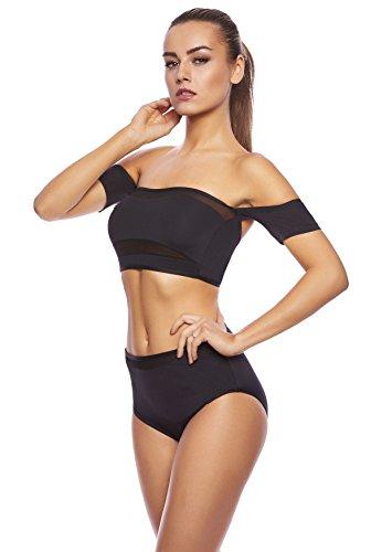 Mujer noble Push Up Bikini con slip, dos piezas 1288s-f5197 Bikini 2Pcs. Objet ou sujet détouré B6 Noir / (sw)