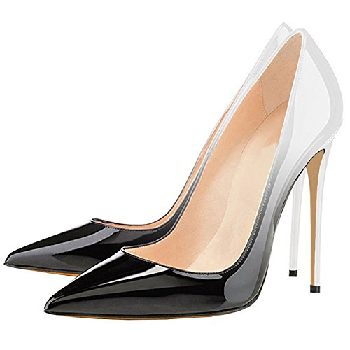 Lovirs Womens Punta A Punta Tacco Alto Slip On Stiletto Pumps Scarpe Da Sposa Basic Scarpe Grigio Sfumato
