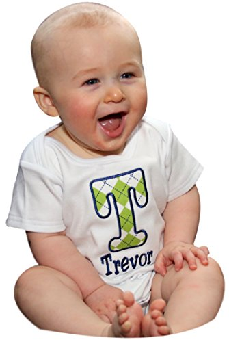Personalized Embroidered Argyle Initial Onesie Bodysuit for Baby Boys - Your Custom Name! (0-3 Months, - Argyle Bodysuit