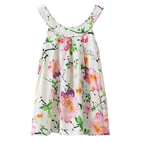 Yaseking Kids Toddler Baby Girls Summer Dress, Sleeveless Flower Print Vest Beachwear Clothes(130,Green)