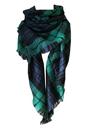 3 Stripe Scarf (Wander Agio Womens Warm Scarf Triangle Shawls Large Scarves Stripe Plaid Fichu Dark Green Colour 3)