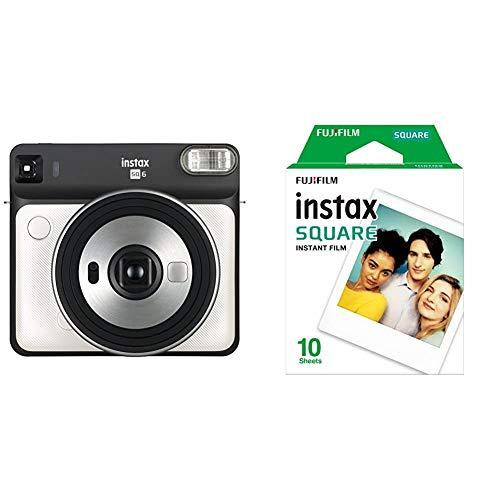 Fujifilm instax SQ6 – Cámara analógica instantánea formato cuadrado + Pack de 10 fotografías, color blanco