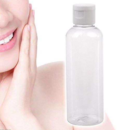 SYlive 100MlClear Flip Top Cap Refillable Bottle Transparent Small Simple Empty - Transparent Top Flip