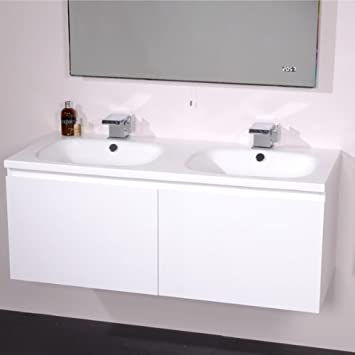 1200 Double Vanity Unit with Basin for Bathroom   Luxury Wall Hung Soft  Closing White Gloss. 1200 Double Vanity Unit with Basin for Bathroom   Luxury Wall Hung