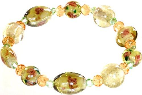Genuine Italian Murano Glass - Ace Of Diamonds Geneva Italian Murano Glass Stretch Bracelet (Olive)