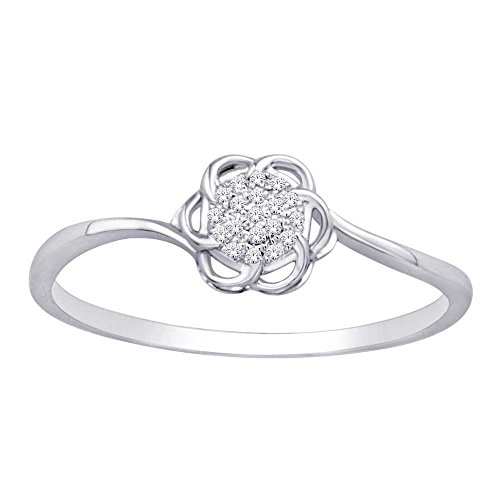 - Saris and Things Silver 0.01 Ct.tw. Diamond Flower Ring