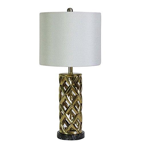 cory martin w-8986gld Woven Cilindro jaula cerámica y metal sintética mármol lámpara de mesa, 66cm, chapado en oro y...