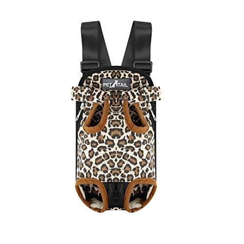 Pettail Dog Kangaroo Pouch Front Pet Backpack Carrier, Wide Straps Shoulder Pads, Adjustable Legs Out Pet Backpack Carrier Walking, Travel, Hiking, Camping (Medium, Leopard)