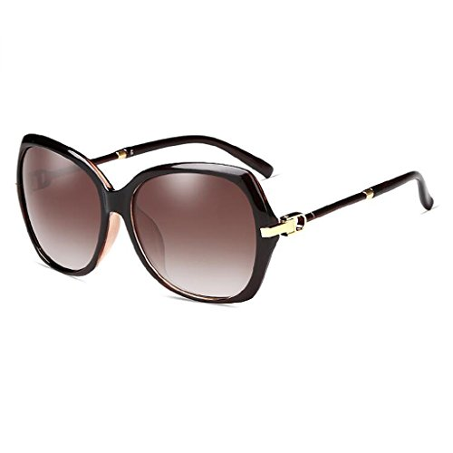 femeninas UVA viaje Retro sol Color de wine UV redonda Wine gafas Gafas la de cara elegantes frame gafas gradually red caja Brown sol cara UVB marea WLHW de tea gradually larga de polarizadas frame axOwtYvqq