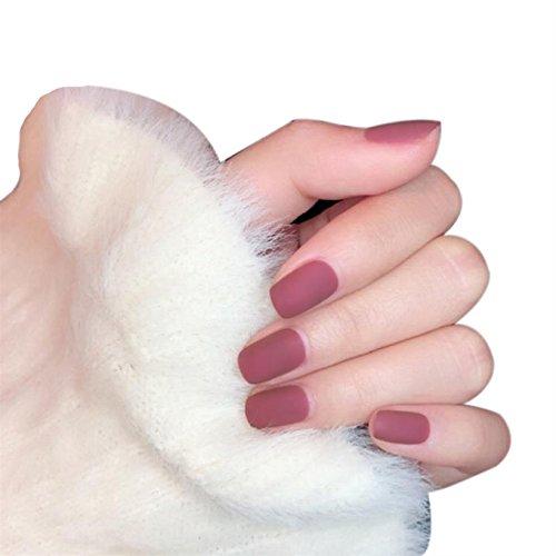JINDIN 24 Sheet Short Fake Nails for Girls Solid Color Matte False Nail Tips with Glue Sticker Press On Nails