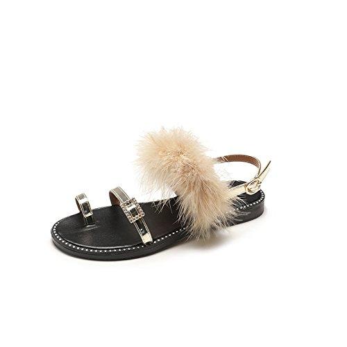 RUGAI-UE Sandalias, sandalias de punta, de fondo plano, dedos cómodos, hebillas, zapatos de mujer. Golden