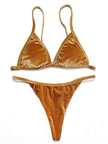 Glamaker Women's Sexy V Neck Velet Bikini Set Strappy 2 Piece Cheeky Swimsuit Cut Out Brown,12(XL) - Brown 2 Piece Bikini Swimsuit