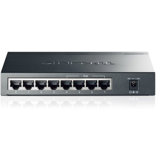 TP-Link PoE Switch Gigabit 8 Port | 4 Port PoE 55W | 802.3af Compliant | Shielded Ports | Traffic Optimization | Plug and Play | Sturdy Metal (TL-SG1008P)
