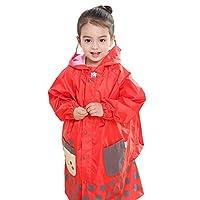 Hugmii Kids Waterproof Animal Raincoat Rain Jacket with School Bag Cover (Orange, Small)
