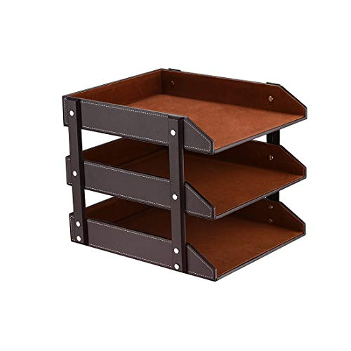 Stacking Letter Trays Leather Office Desk Supply Organizer, 3-Tier Files Sorter Workplace Desktop Storage Holder for Document/Paper/Stationery/Magazine/Newspaper/Mail/Sundries (Brown) ()
