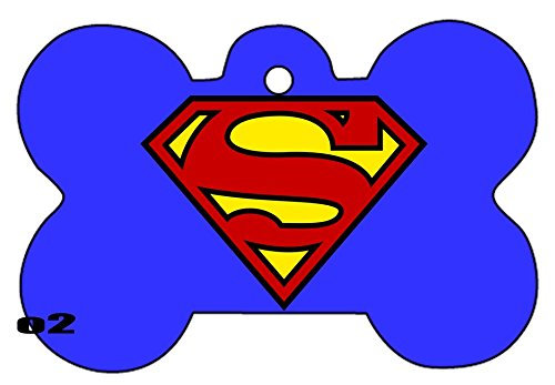 Superman Supergirl Superwoman Art Logo Dog Pet Cat ID Tag Bone Shape Image Photo Personalized with Key Ring (Superman Logo) -