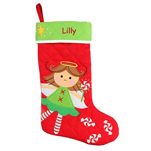 (DIBSIES Personalization Station Personalized Quilted Christmas Stocking (Angel and Candy Canes))
