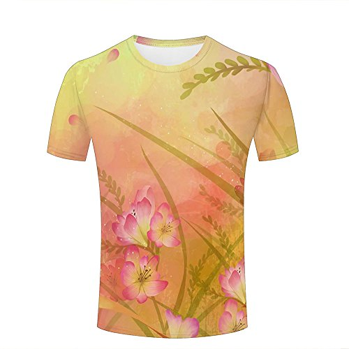 (3d t-Shirts For Men Unisex Freesias Graphic Crewneck Fashion Tees Tops M)