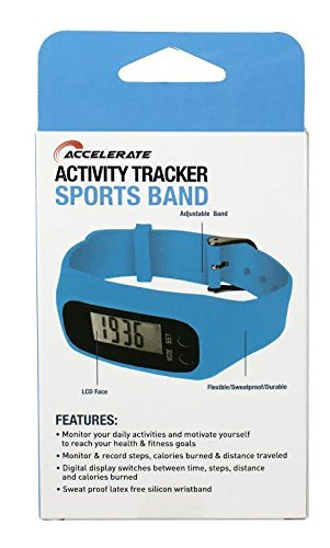 Accelerate Activity Tracker Sports Band With Smartphone Compatibility, Blue