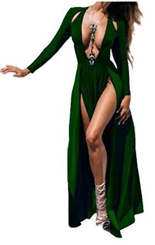 Jaycargogo Femmes Balancer Épaule Froid Sexy Robes Fendues Xxl Vert