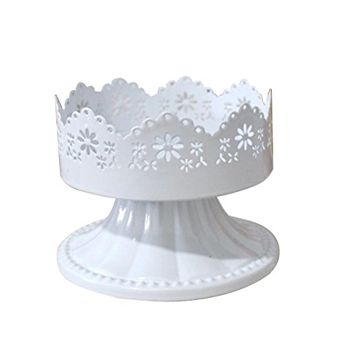 WeiMay Round Cake Stands White Metal Dessert Display Stand Wedding Birthday Party Cupcake Pedestal Display Plate