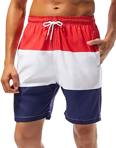 SILKWORLD Men's Beach Shorts Quick-Dry Swim Trunks with Mesh Lining,Red/White/Navy Blue,Small -