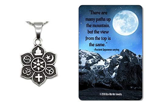 Box-Me-Not Jewelry Coexist Peace yin yang Religious Spiritual Necklace Gift Set with Keepsake Card, 18
