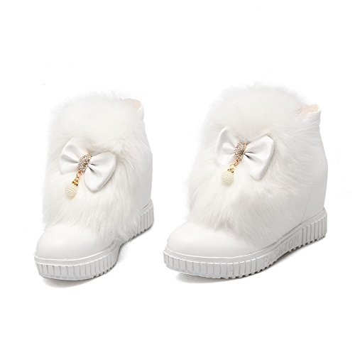 on Ankle high Boots White Heels High Allhqfashion Solid PU Pull Women's 1xqE7nwgA
