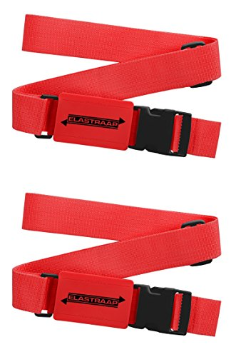 Luggage Straps, Adjustable Non-Slip Baggage Belts - Suitcase Bands for your Travel Bag (2 Items/Red) (Slip Luggage Strap)