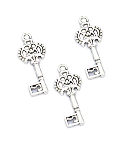 100pcs Vintage Antique Silver Alloy Key Charms Pendant Jewelry Findings for Jewelry Making Necklace Bracelet DIY 29x12mm (100pcs Key) from zhangdongDIY