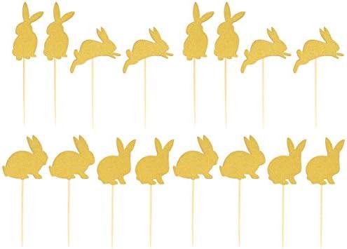 UPKOCH 40ピースバニーケーキトッパーイースターウサギカップケーキトッパーケーキピックベビーシャワーバースデーケーキデコレーションゴールデン