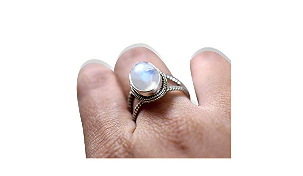 Round Moonstone Ring Blue Fire Moonstone Ring 925 Solid Sterling Silver Ring Anniversary Gift Silver Boho Ring Rainbow Moonstone Ring