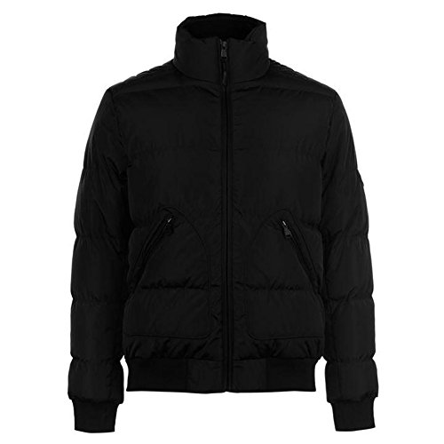 Pierre Cardin Mens Warm Padded Bomber Jacket with Herringbone Tape Trim (XX-Large, Black)