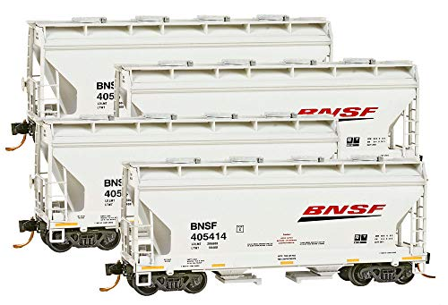 (Micro-Trains MTL N-Scale 2-Bay Covered Hoppers BNSF/Swoosh Logo - Runner 4-Pack)