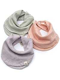 Indi by Kishu Baby - Infinity Scarf Bibs - Organic Drool Bib for Girls or Boys with Snaps - 100% Organic Cotton Muslin...