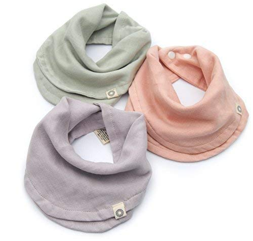Indi by Kishu Baby - Girl Bibs - Organic Infinity Scarf Bib for Girls with Snaps - 100% Organic Cotton Muslin - 3 Luxuriously Soft, Solid Color Drool Bibs for Teething Babies ()