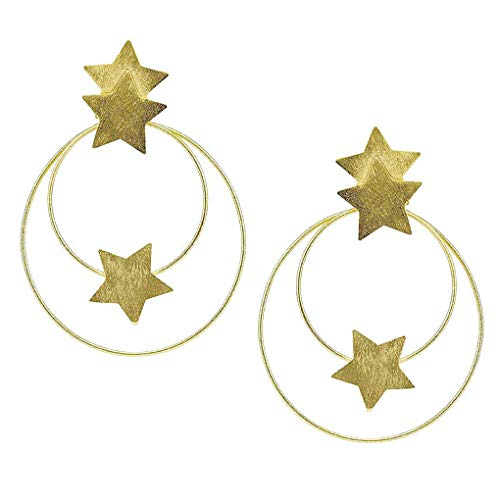 Sheila Fajl Cassiopeia Front Hoops Earrings with Stars in Gold
