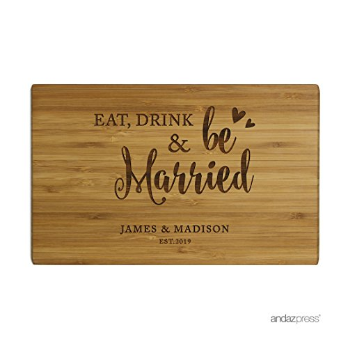 Andaz Press Personalized Laser Engraved Small Bamboo Wood Cutting Board, 9.5 x 6-inch, Eat Drink and Be Married Bride Groom Names Date, Custom Wedding Bridal Shower Birthday Gift Ideas (Bridal For Gifts Ideas Shower)