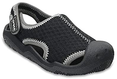 crocs Kids' Swiftwater K Sandal, Black/White, 2 M US Little Kid