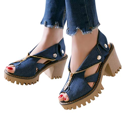 GHrcvdhw Women's Shoes Cuffed Denim High Heel Sandals Thick Platform Fish Mouth Peep Toe Zipper Stylish Casual Sandals