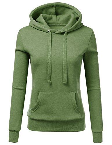 Doublju Basic Lightweight Pullover Hoodie Sweatshirt For Women Kellygreen X-Large