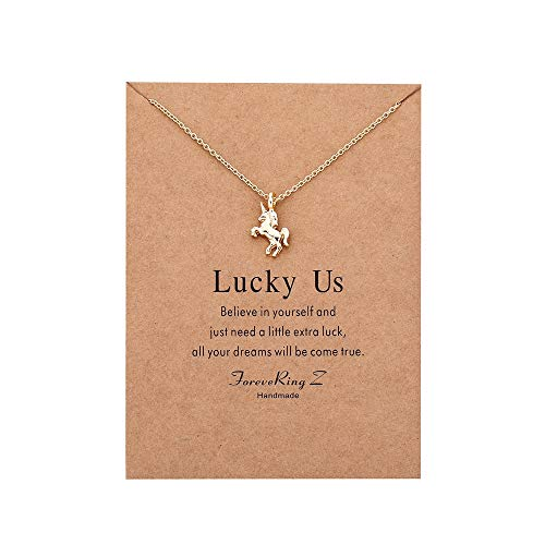 ForeveRing Z Unicorn Necklace Animal Pendant Women Jewelry Message Card Necklace ()