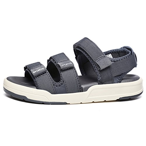 GOMNEAR Mens Sandals Velcro Women Summer Outdoor Sport Adjustable Fasten Padded Strap Casual Shoes Grey 7Uv90DTRKM