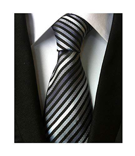 Secdtie Men's Narrow Stripe Pattern Tie Grey Black White Business Necktie -