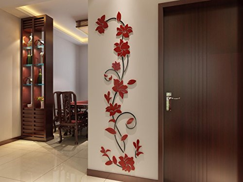 3d Rattan Flower Wall Murals for Living Room Bedroom Sofa Backdrop Tv Wall Background, Originality Stickers Gift, Removable Wall Decor Decal Sticker (70(H) x 22(W) inches) by DecorSmart (Image #2)